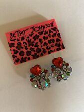 Betsey Johnson Fashion Red heart crystal bow rhinestone Earrings-BJ66415