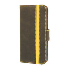 Brown Valenta Booklet Stripe Folio Case For iPhone 5,5S,SE Flip Cover