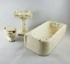 Vintage Arcade 3 Piece Cast Iron Toy Bathroom Set - Sink Tub Toilet - FREE SHIP
