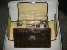 Vintage Faux Crocodile Skin Leather Men's Grooming Kit Travel Case