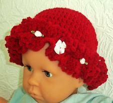 More details for reborn baby dolls hat 5-6-7-8-9-10-12 inches head red crochet bonnet diamante uk