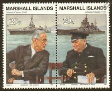 ROOSEVELT & WINSTON CHURCHILL (USS AUGUSTA & HMS PRINCE OF WALES) Warship Stamps