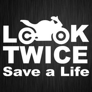 Look Twice Sticker Motorcycle Safety Vinyl Car Window Decal 190mm x 135mm