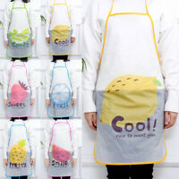 Womens Fruits Cartoon Apron Waterproof Anti-oil PVC Kitchen Cooking Aprons 1PC