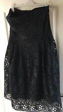 """Next"" Womens Strapless Dress, Size 16, Black embroidered/netting underlayers"