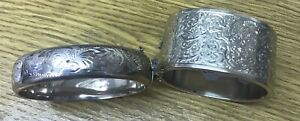 Two Silver Engraved  Antique Bangles.