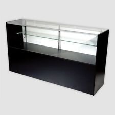 Retail Glass Display Case Half Vision Black 6' Showcase W/Led Light