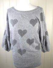 Ladies grey soft jumper hearts Angora blend Size 10 Winter top (B130)