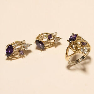 Natural Purple Zircon White Topaz Ring Earrings 925 Sterling Silver Fine Jewelry