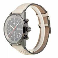 Hugo Boss HB 1513562 Grand Prix Leather Band Black Dial Chronograph Men's Watch