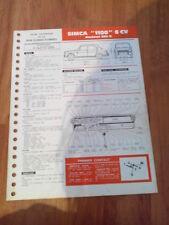 FICHE TECHNIQUE AUTOMOBILE RTA SIMCA 1100 6 CV MOTEUR 350 S  (clb)