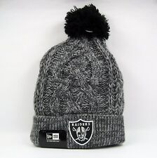 New Era Men's NFL Oakland Raiders Grey Cable Knit Beanie A-One Size