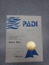 Personalized PADI Vintage Rescue Scuba Diver Certificate (Great Gift!)