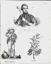 1837ca PIETRO MICCA- BRIGANTE NAPOLETANO- ULIVO 3 litografie Magazzino Pittorico