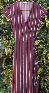 Aritzia Wilfred Free Women's Maroon Red Striped Tie Front Wrap Dress Size XXS