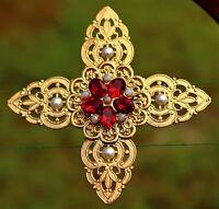 Maltese cross gold tone filigree red oval Swarovski elemants faux pe  USA BROOCH