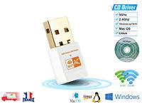 Clé USB WiFi Adaptateur Sans Fil Dongle 600 Mbps Double Bande WIN Linux Mac OS