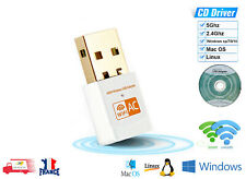 Clé USB WiFi Adaptateur Sans Fil Dongle 600 Mbps Double Bande WIN Linux Mac OS