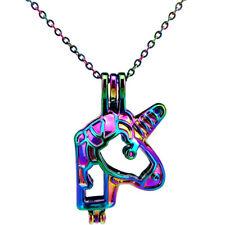 C686 Rainbow Color Unicorn Pearl Cage Locket Pendant Essential Oils Diffuser