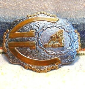 Vintage Crumrine Silver Plate Bronze Barrell Racer Rodeo Trophy Buckle Good Cond