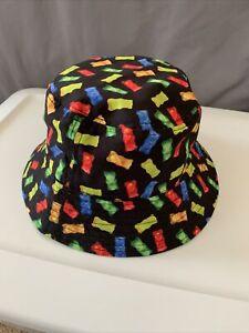 Gummy Bear Bucket Hat Black With Multicolor Gummies EUC