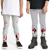 Toddler Girls Kids Stripe Minnie Mouse Print Leggings Pants Casual Trousers 2-7Y