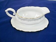 BAVARIA CHINA, GRAVY BOAT W/ATTACHED UNDERPLATE, WHITE, SCALLOPED EDGE,GOLD TRIM