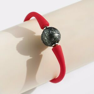 Red Silicone Rubber Bracelet Bangle,14mm+ Black Carved Tahitian Saltwater Pearl