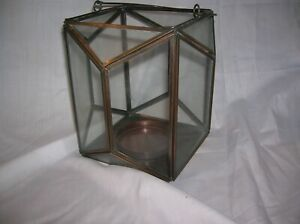 Hanging Brass and Glass Lantern case for votive or small pillar candle