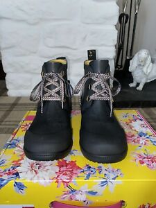 Joules Size 5 Black Ashby Boots / Ankle Rubber Wellies With Patterned Laces! New