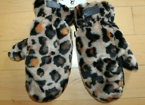NWT UGG Women's All Over Fur Leopard Gloves Mitten L/XL