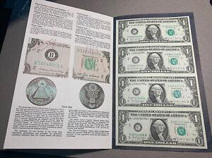 1988 A 1 Dollar Bill Uncut Sheet of 4 With Folder