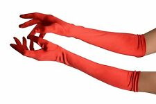 Red Stretchy Satin Wedding Opera Gloves (GL003224)