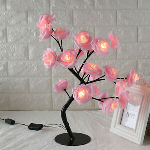 USB Rose Bouquet LED Tree Table Lamp Lights Party Wedding Home Decor Gift