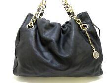 Auth BVLGARI Monete 34594 Black Leather Tote Bag