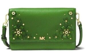 NWT MICHAEL KORS FLORAL Embellished PHONE CROSSBODY Bag In ADMIRAL or TRUE GREEN