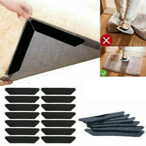 8PCS Rug Gripper Anti Curling Carpet Sticky Holder Non-Slip Corners Grip Pads