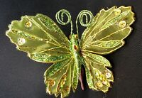 Green Butterfly with Glitter Clip On Christmas Tree Home Decoration