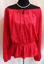 ELLEN TRACy Satin Polka Dot Pirate Top Dressy Blouse Sz L On-Off Shoulder Peplum