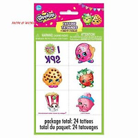 Shopkins Temporary Tattoo - 4 sheets, 24 tattoos