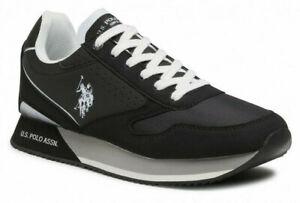 Scarpe uomo US Polo 4096 sneakers casual sportive basse comode tempo libero nere