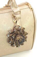Genuine Leather Flower Bag Charm Bronze Rose Purse Clip Handbag Keychain Pendant