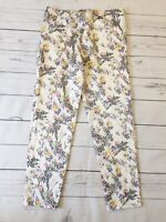 Topshop Trousers UK 10 White Shiny Floral Cigarette Jacquard Ankle Length Party