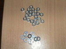200 M6 WASHERS AND 100 FULL BZP NUTS M6
