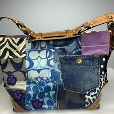 COACH Blue Denim Indigo Patchwork Shoulder Handbag Purse