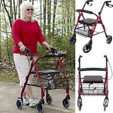 Senior Rollator Gehhilfe Leichtgewichtrollator Gehwagen Stockhalter Rückenlehne