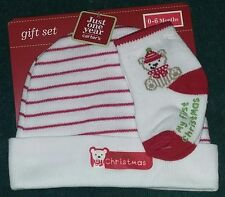 "Carter's JOY 0-6 Months ""My First Christmas"" Baby Cap (Hat) & Socks Set~Boy/Girl"