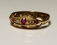 Victorian antique 18ct gold / 18kt gold Ruby and diamond boat ring,