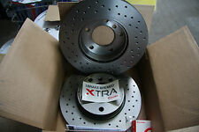 2x Brembo Xtra Perforated Brake Discs Fiat Abarth 500 Set Rear