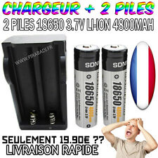 2 PILES ACCU RECHARGEABLE BRC 18650 3.7v 4800mAH SDNMY + SMART CHARGEUR RAPIDE